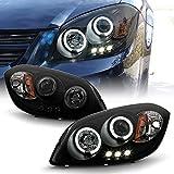 ACANII - For 2005-2010 Chevy Cobalt Pontiac G5 LED Halo Black Housing Smoke Lens Projector Headlights Headlamps Assembly