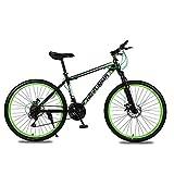 YAOXI 26 Pollici Mountain Bike con Forcella Ammortizzata Assorbimento degli Urti, MTB con 21 Marce, Telaio in Acciaio al Carbonio Sistema di Freno A Doppio Disco Boy Girl Biciclette,Black/Green