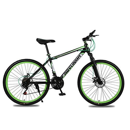 YAOXI 26 Pulgadas Bicicleta De Montaña con Horquilla De Suspensión Absorción De Choque, MTB con 21 Engranajes, Marco De Acero Al Carbono De Doble Disco De Freno Niño-Niña Bicicletas,Black/Green