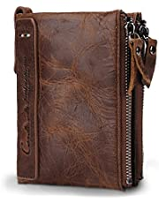 CONTACTS Genuine Premium Leather Wallet | 100% RFID Blocking | Bifold Zipper Pocket for Coins | Transparent ID Window and Card Slots | Available with Free Gift Packing