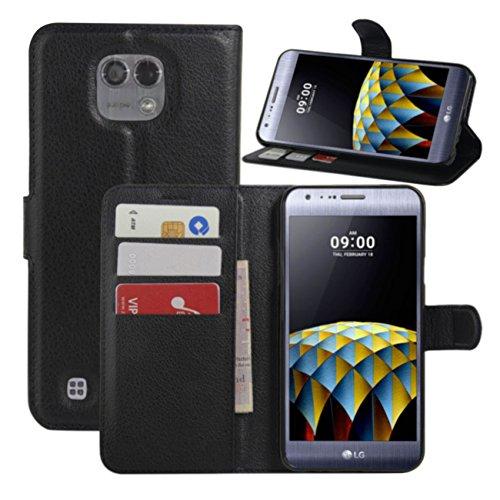HL Brothers LG X Cam Hülle, HualuBro [All Aro& Schutz] Premium PU Leder Leather Wallet HandyHülle Tasche Schutzhülle Hülle Flip Cover mit Karten Slot für LG X Cam Smartphone (Schwarz)