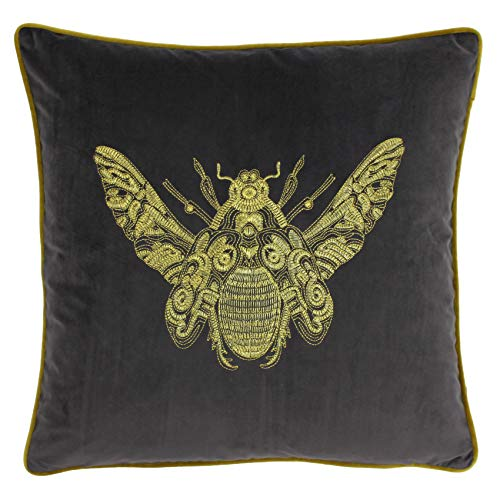 Riva Paoletti Cerana Cushion Cover - Charcoal Grey - Super Soft Velvet Fabric - Embroidered Gold Bee Design - Gold Piped Edges - 100% Polyester - 50 x 50cm (20' x 20' inches)