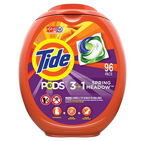 Tide PODS Laundry Detergent Liquid Pacs, Spring Meadow Scent, HE Compatible, 96...