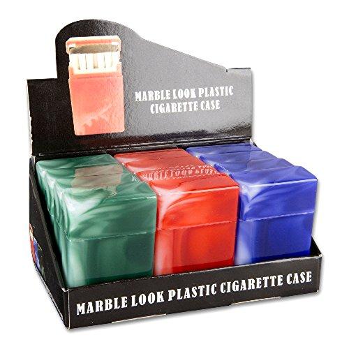 Zigarettenbox Kunststoff farblich 12 Stück Sortiert, für ca. 18 Stück, mit Trennsteg