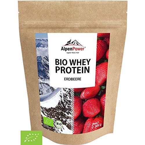 ALPENPOWER | BIO WHEY Protein Erdbeere | Ohne Zusatzstoffe | 100% natürliche Zutaten | Bio-Milch aus Bayern und Österreich | Superfood Erdbeere | Hochwertiges Eiweißpulver | 500 g