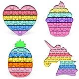 Fidget Toys Pack, 4 Piezas de Push Bubble Juguetes Antiestres pueden Ayudar a Aliviar el Estrés y la Ansiedad, los Fidget Toys se pueden usar como Regalos de Cumpleaños y Recompensas de Clase