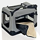 faltbare Hundebox Haustier Transportbox klappbare Autobox 60x42x44 cm gepolstert Katzen Henkel Tragetasche Grau - 6