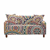 Fansu Funda de Sofá Elástica para Sofá de 1 2 3 4 Plazas,Ajustable Patrón de Mandala Colorido 3D Cubre Sofa Antisuciedad Protector de Muebles +Funda de Cojín (Estilo étnico,1 plazas(90-140cm))