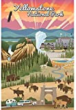 Vintage-Blech-Poster Yellowstone National Park, Wyoming –