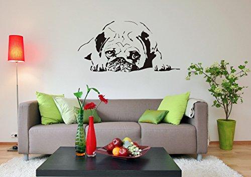 blattwerk-design Wandtattoo MOPS - Pug, Carlin, Carlino, Doguillo HUNDEMOTIV Tiere Größen (900 mm x 450 mm, Schwarz)