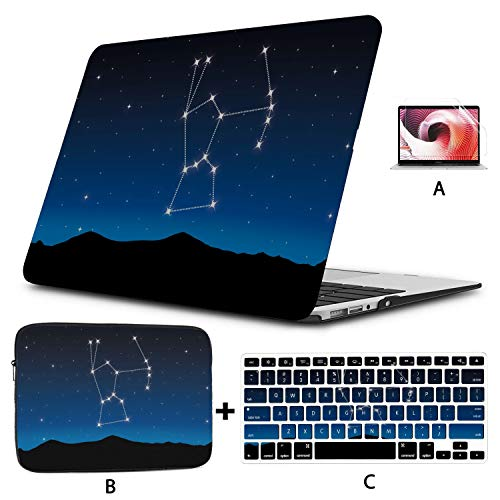Mac Book Pro Covers Constellation MacBook Pro Screen Protector Hard Shell Mac Air 11'/13' Pro 13'/15'/16' with Notebook Sleeve Bag for MacBook 2008-2020 Version