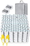 Extra Thick Blocking Mats for Wet and Steam Blocking with Grids and 36 inches Radial Circles - Includes 100 t pins Storage Bag and Gloves Blocker
