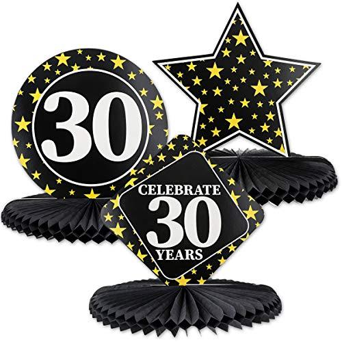 Juvale - Juego de 3 centros de mesa para 30 cumpleaños, diseño de panal de abeja, 3 diseños de estrellas