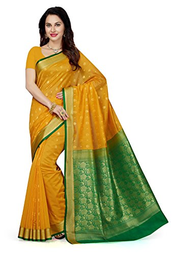Ishin Women's Cotton Saree With Blouse Piece (Sngm-16615_Yellow & Green)