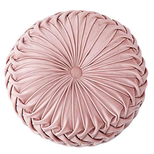 Baifeng Redondo Terciopelo Calabaza Cojín Asiento Cubierta para Silla Tapete Sofá Sofá Hogar Decoración - Rosa