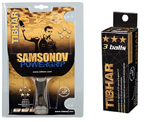 TIBHAR SAMSONOV POWERGRIP Table Tennis Racquet, Free: TIBHAR 3 Star 40mm ITTF Approved Celluloid Balls (Pack of 3)
