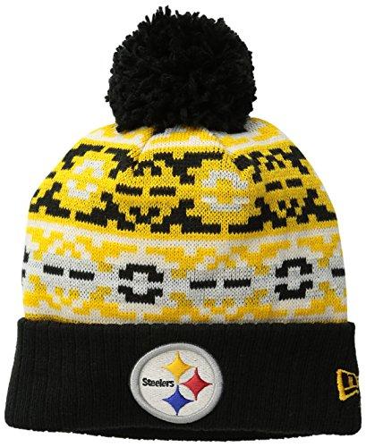 New Era NFL Pittsburgh Steelers Retro Chill Pom Beanie, Einheitsgröße, schwarz