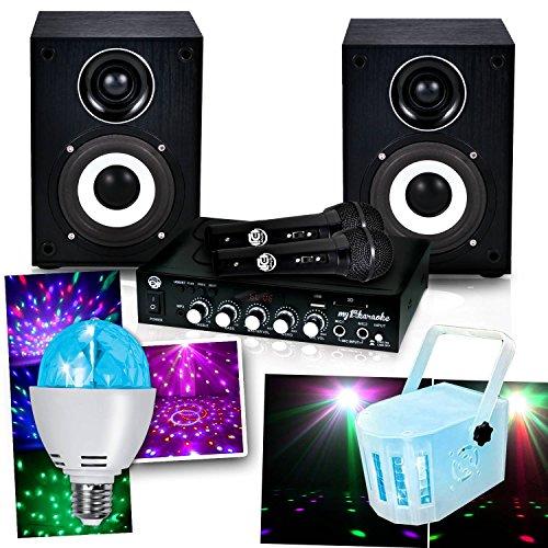 Set Karaoke My1st 100W 2microfoni + Lampadina diamanti + sfera RGB + DERBY kolor