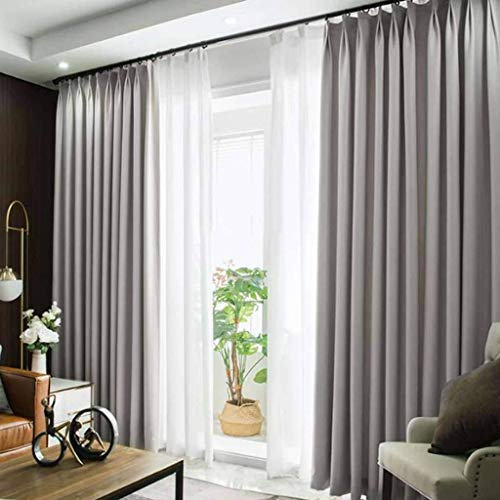 PLEASUR Thermal Insulated Curtain, Noise Reduction Room Darkening with Grommets Blackout Curtain Soft Decorative Drapes Suitable for Living Room Patio Bedroom-250x220cm(98x87inch)-D 1 Panel