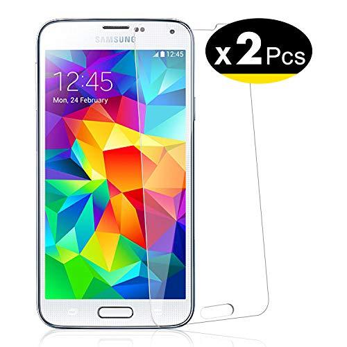 NEW'C PanzerglasFolie Schutzfolie für Samsung Galaxy S5, [2 Stück] Frei von Kratzern Fingabdrücken und Öl, 9H Härte, HD Displayschutzfolie, Displayschutzfolie Samsung Galaxy S5