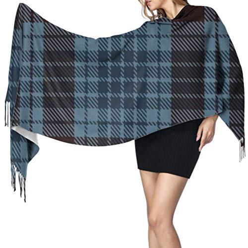 Bufanda geométrica escocesa de tartán azul oscuro Bufanda con flecos Chal para mujer Chal de envoltura suave 77'x27 / 196x68cm Pashmina suave grande extra cálido