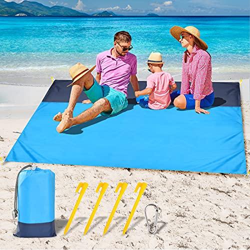 GeeRic Alfombras de Playa,210x200cm Esterilla Playa Manta Picnic Impermeable con 4 Clavos Fijos Gancho,Azul