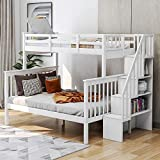 Twin Over Full Bunk Bed with Stairs, Baysitone Wood Bunk Bed Frame with Storage Shelves for Kids Teens/Separate to Twin and Full Bed, No Box Spring Needed, Easy Assembly (White)