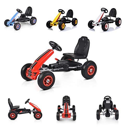 Moni Kart Infantil Fever Coche de Pedales neumáticos de plástico Freno de Mano, Color:Rojo
