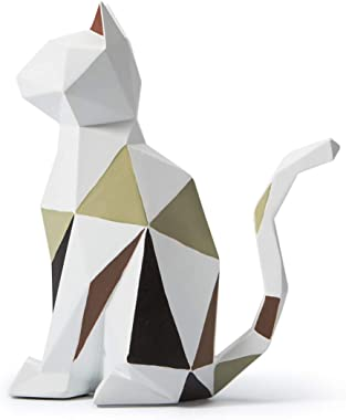 SEINHIJO Statue Sculpture Cat Figurine Geometric Animal Decor for Home Gifts Souvenirs Giftbox Resin 18.5cmH