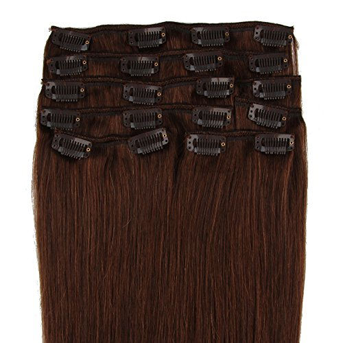 Beauty7 120g Extensions de Cheveux Humains à Clip 100% Remy Hair #4 Couleur Chocolat Marron Longueur 66 cm