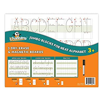 Channie s Big Blocks for Neat Alphabets 3 Pak Tracing Writing Letters and Numbers in Visual Format 8 x 11 Dry Erase Magnetic