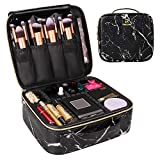 MONSTINA Travel Makeup Bag Organizer,Marble Cosmetic Case Portable Makeup Train Case ProfessionalMakeup ArtistBag with Adjustable Compartment for Cosmetics and Nail Tools