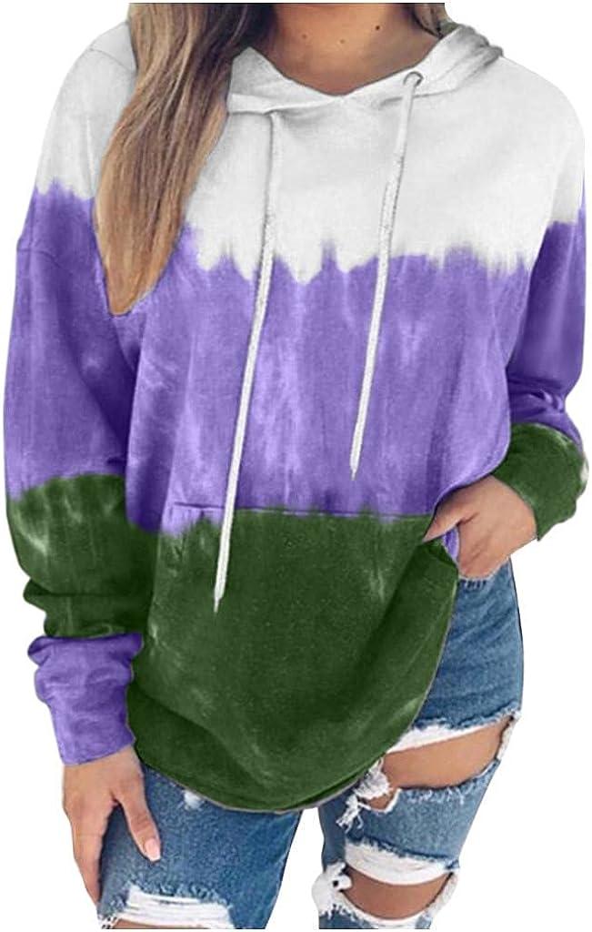 lucyouth Tie Dye Sweatshirts for Women Plus Size Long Sleeve Pullover Gradient Casual Pocket Tops Hooded Sweatshirt