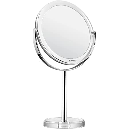 Auxmir Magnifying Makeup Mirror with 1X / 10X Magnification, High Definition, 6'' Double Sided Vanity Tabletop Mirror with Crystal-like Style, 360° Rotation for Dressing Table, Desk, Bathroom, Bedroom