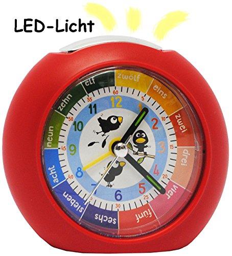 alles-meine.de GmbH LED Licht - Kinderwecker - Analog -  lustige Vögel - rot  - Lernwecker - + -1 Minuten Schritten Anzeiger - Lernzifferblatt - für Kinder / großer analoger We..