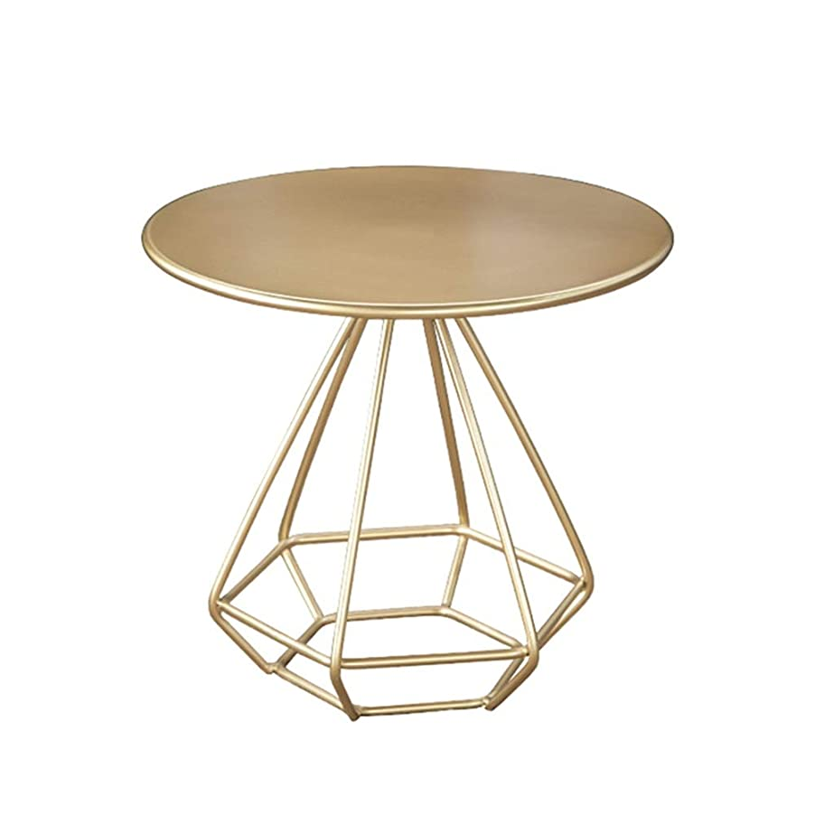 要求残忍な紳士気取りの、きざなLJHA zhuozi サイドテーブル、スチールのラウンドテーブルトップコーヒーテーブル付き、リビングルーム、ベッドルーム、バルコニー、パーラーテーブル3色(ゴールド、ブラック、ホワイト) (色 : ゴールド, サイズ さいず : 80cm/31.4'')