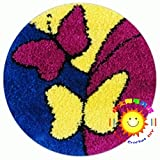 Redonda DIY Accesorios Hechos A Mano De Alfombras 3D Tapiz Kits Latch Hook Kit Bordado Conjunto Tapiz Kits Lienzo De La Impresión,Butterfly