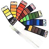Cizen Caja de Acuarelas Sólidas, Set de Pintura de Acuarela Sólida, Profesional 42 Colores Pigmentos de Pintura Portátil para Pintura Al Aire Libre Sketch