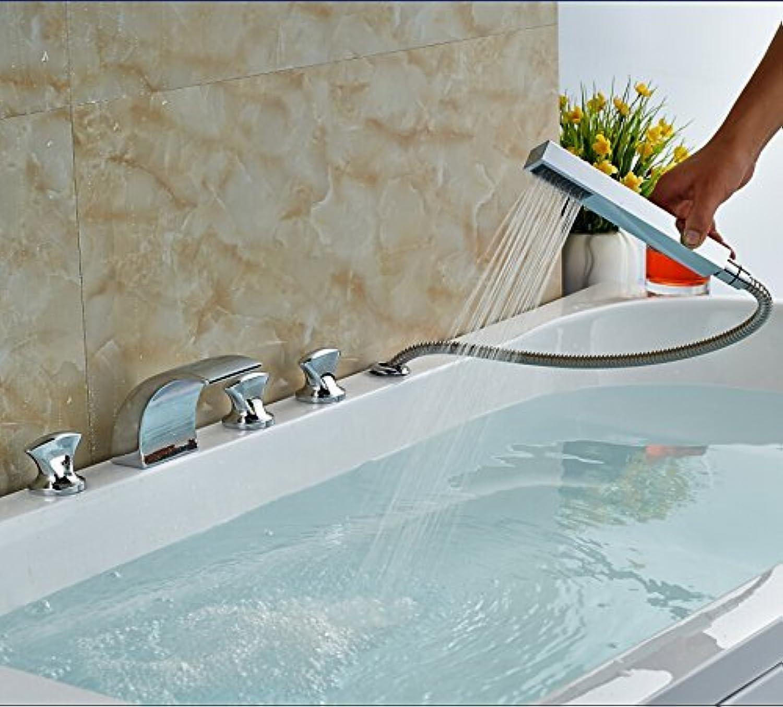 5 Chrome Plated Heads of Bathroom Fitting Glass Swan Form 3 Glass Mixer Handles Bridge Mount 5 Hole