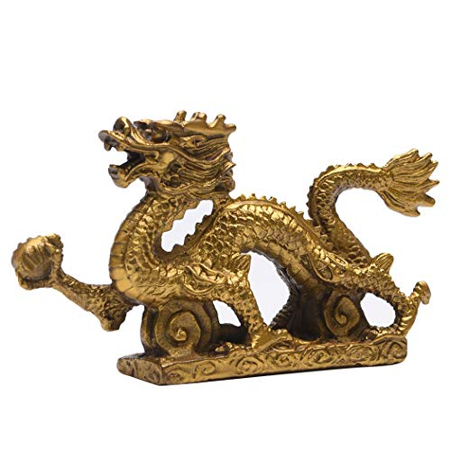 Brass Feng Shui Chinese Royal Dragon Golden Statue...