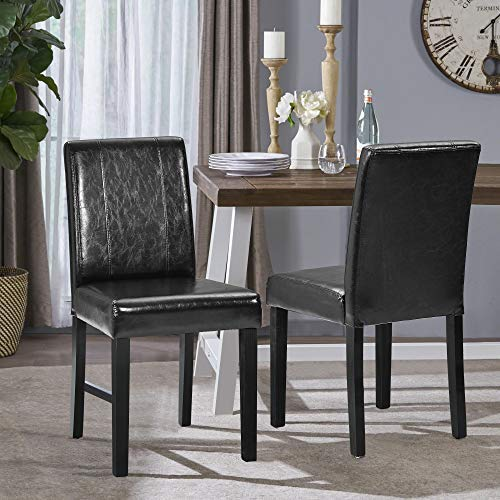 Merax Dining Chair High Back Chair Faux Leather with Solid Wooden Legs for Home & Commercial Restaurants, Set of 2 (Black)