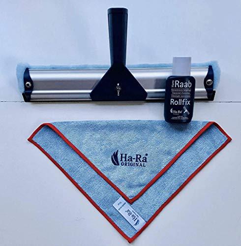 Ha-Ra Starterset 32 cm Fensterwischer + Ha-Ra 75ml Vollpflege Rollfix + HaRa Startuch mini (farbig sortiert: wird rot oder blau umrandet geliefert)