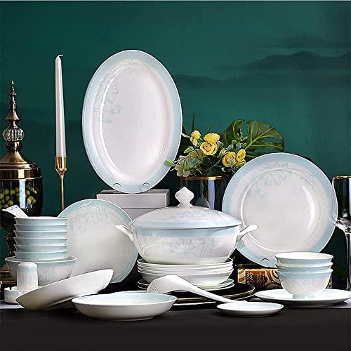 CCAN Juego de vajilla de Porcelana China de Hueso de 58 Piezas para 12, Juego de vajilla de cerámica para el hogar, Juego de Cuencos y Platos de Palillos Interesting Life