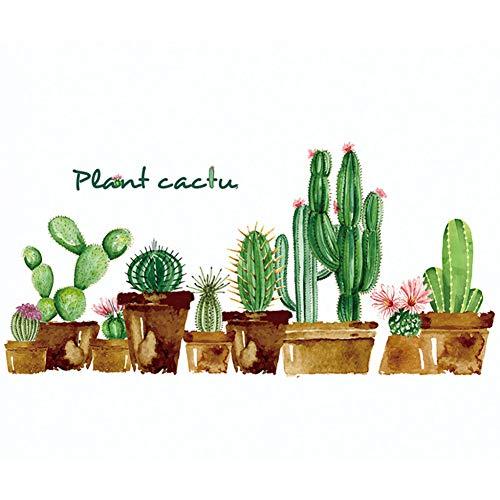 TAOYUE 1 Set 2 Stks Cartoon Groene Cactus Muursticker Art Kwekerij Kinderkamer Thuis Decoratie Woonkamer Plant Behang