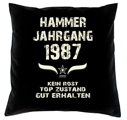 Sofakissen Dekokissen inkl. Füllung & Urkunde Geschenkidee zum 33ten Geburtstag Hammer Jahrgang 1987 Kissenbezug 100% Baumwolle Farbe: schwarz