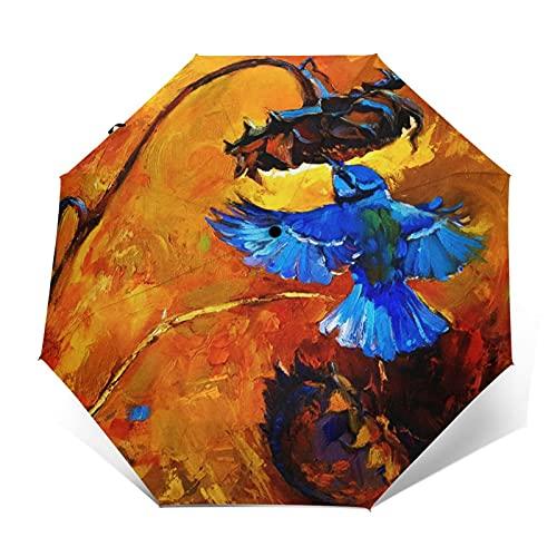 Paraguas Plegable Automático Impermeable Animal Oil Canvas Little, Paraguas De Viaje Compacto Prueba De Viento, Folding Umbrella, Dosel Reforzado, Mango Ergonómico