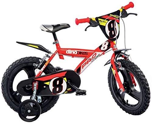 Dino Bikes 143 GLN bicicletta 14 serie 23 con rotelle e doppio freno per bambini dai 4 ai 7 anni