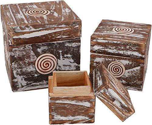 Guru-Shop Juwelenkistje, Houten Doosje in 2 Maten - Vierkant, Maat: Twee Sets, Blikken, Dozen Kisten