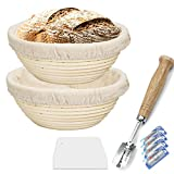 9 Inch Proofing Basket 2 Pack,WERTIOO Bread Proofing Basket + Bread Lame +Dough Scraper+ Linen Liner...