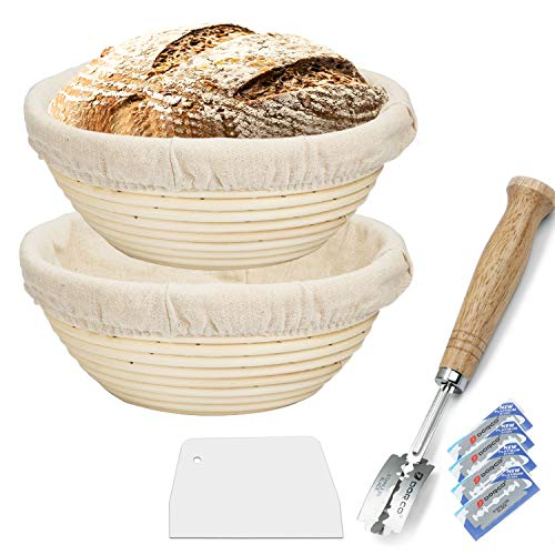 10 Inch Proofing Basket 2 pcs,WERTIOO Bread Proofing Basket + Bread Lame +Dough Scraper+ Linen Liner Cloth for Professional & Home Bakers